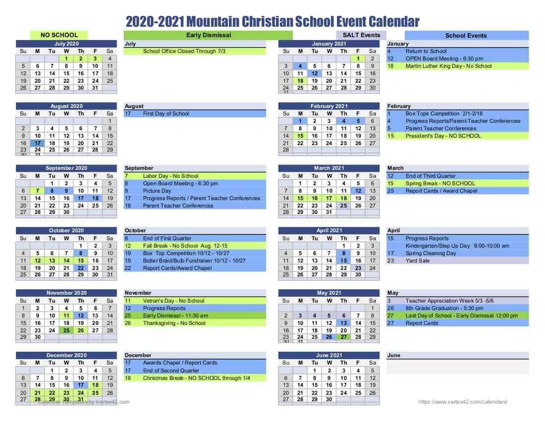 MCS School Calendar 2020-2021