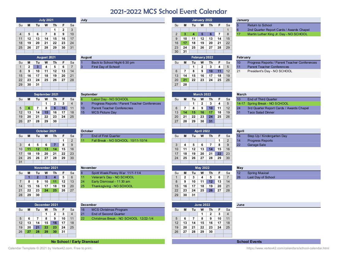 MCS School Calendar 2021-2022